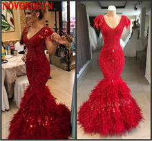 Wine Red Sexy V Neck Mermaid Formal Party Dress Plus Size Beaded Prom Dress Long Kleider Feather Evening Gown Real Sample 2019 kakan new women s beaded mesh dress black wine red tibetan blue sexy loose dress club party nightclub sexy dress