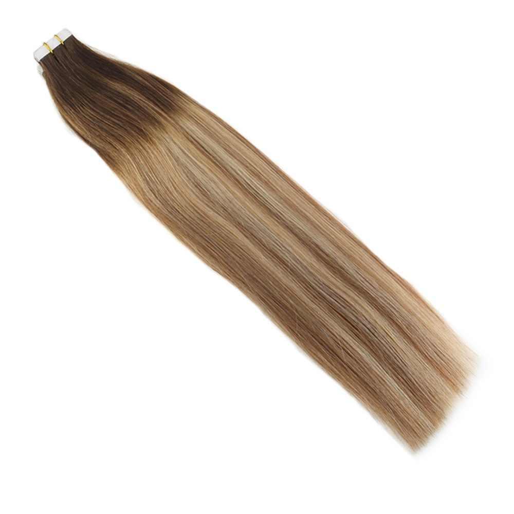 Moresoo ленты в наращивание волос натуральные волосы Remy бразильский Волос, Кожи Утка выметания Ombre Цвет #4 выцветанию коричневый и блондинка