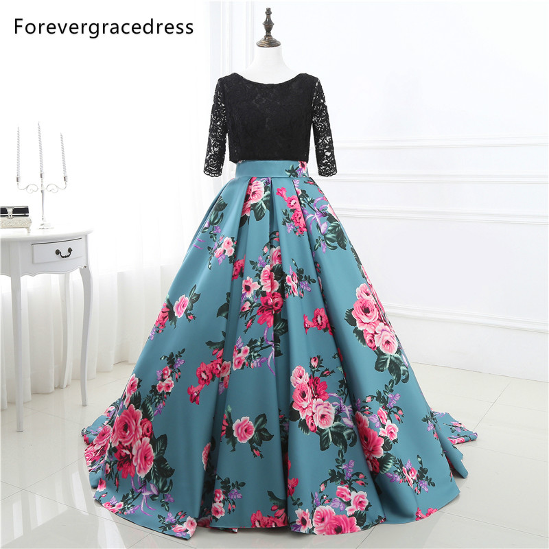 Forevergracedress Sexy Backless   Prom     Dress   Colorful Lace Half Sleeves Long Formal Party Gown Plus Size Custom Made