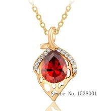 Потрясающая красная подвеска желтое золото женское ожерелье
