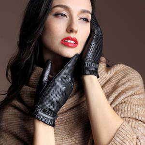 Image 2 - High Quality Elegant Women Leather Gloves Genuine Lambskin Leather Autumn Spring Winter Thermal Hot Trendy Female Glove G565