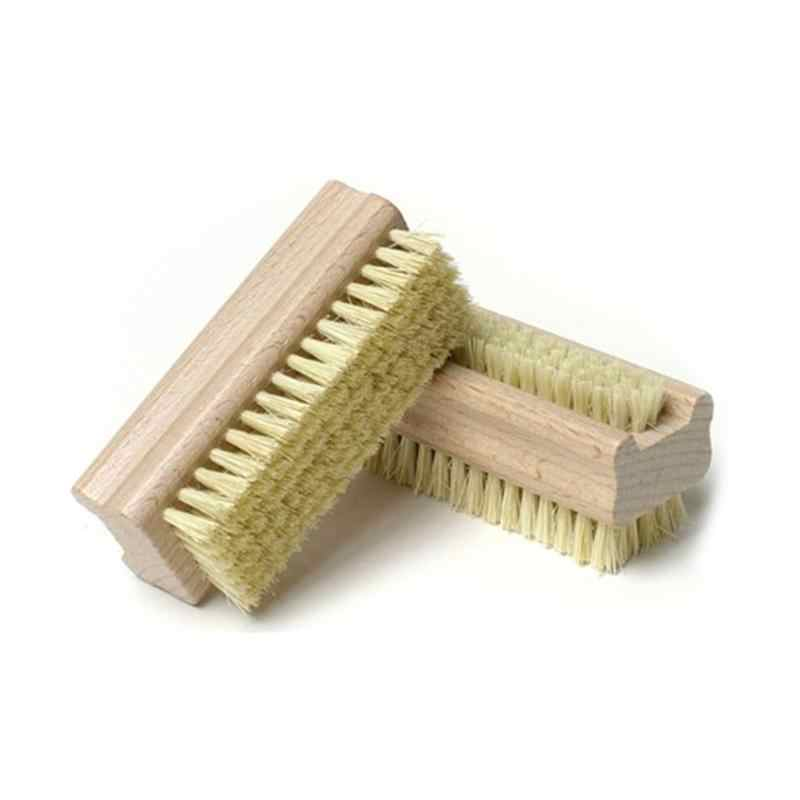 Wooden Handle Double Sided Natural Bristle Nail Brush Soft Remove Dust Nail Cleaning Tools Brush For Nail Care