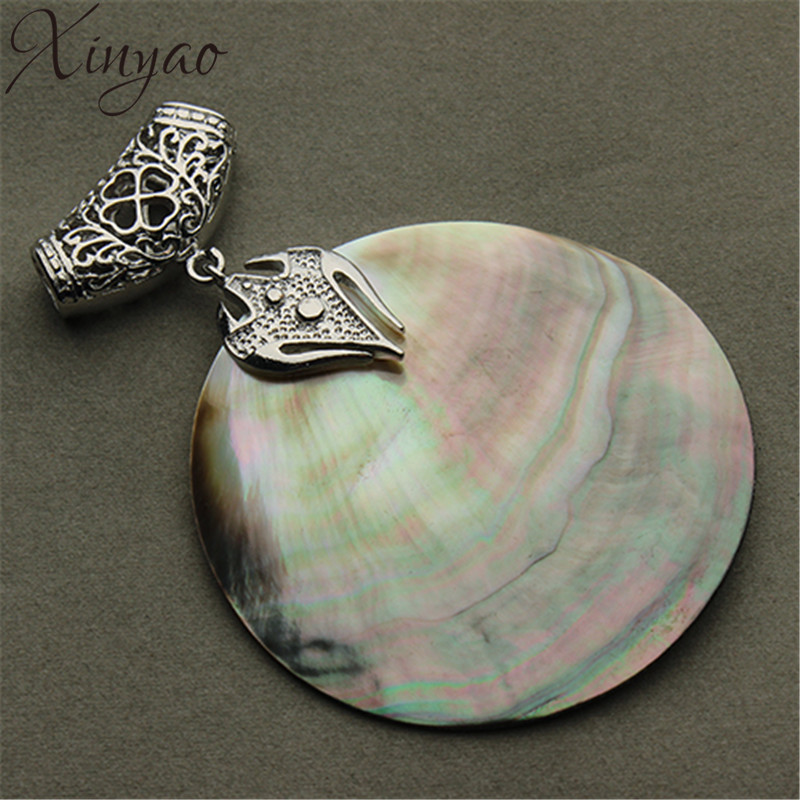 XINYAO Vintage Natural Mother of Pearl Shell Wisiorek Antique Silver Plated Abalone Shell Zawieszki Charms Tworzenia Biżuterii F1151