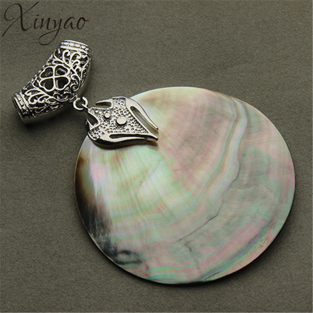 Xinyao vintage natural mother of pearl shell pendant antique silver xinyao vintage natural mother of pearl shell pendant antique silver plated abalone shell pendants charms jewelry aloadofball Choice Image