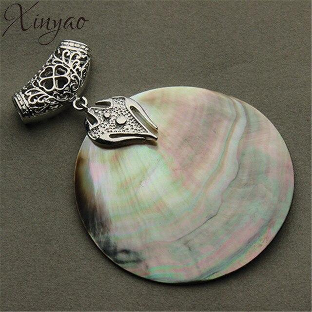 f4c68c7461e7 XINYAO Vintage Natural madre de perla Shell colgante Chapado en plata  Abalone Shell colgantes encantos joyería
