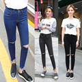 Newest 2016 Atumn American Apparel Slim Femme Plus Size Jeans Knee Ripped Push Up Skinny Jeans Woman Causal Pencil Pants