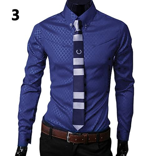 2019 Fashion Men Argyle Luxury Business Style Slim Fit Long Sleeve Casual Dress Shirt