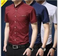 M-5XL 2016 cộng với kích thước mùa hè thanh niên kinh doanh bình thường mens áo sơ mi ngắn tay áo 100% Cotton Trắng mens dress áo Korean mens áo sơ mi