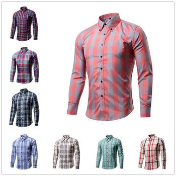 Men's Business Blouse Men's Casual Coloured Checked Print Shirt Long Sleeves Fashion Casual Trend Blouse Males Slim Fit Shirt 13 blouse 1207041 13