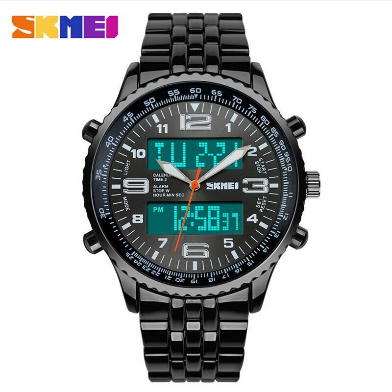 Skmei Fashion Casual Watches Men Luxury Brand Wristwatches Stainless Steel LED Digital Quartz Waterproof Watch Men Dress Watches
