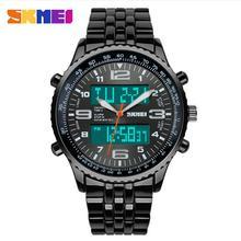 Skmei Relojes de pulsera para hombre marca casual elegante Reloj impermeable de cuarzo digital LED vintage acero inoxidable Relojes deporitvos para hombre