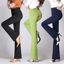 Женские брюки клеш, осень, высокая талия, эластичные, тонкие, яркие цвета, 26~ 35, облегающие, длинные, для девушек, брюки, рабочая одежда, Pantalon Femme