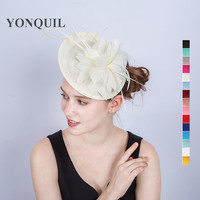 High Grade Fancy Feather Flower Fascinator Ivory Hair Fasinator Hair Band Bridal Accessories Headband Holiday Occasion