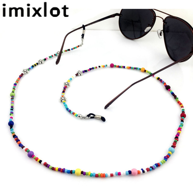 6df8435ffd4 IMIXLOT Women Fashion Colorful Casual Beaded Eyeglass Eyewears Sunglasses  Reading Glasses Chain Cord Holder Neck Strap