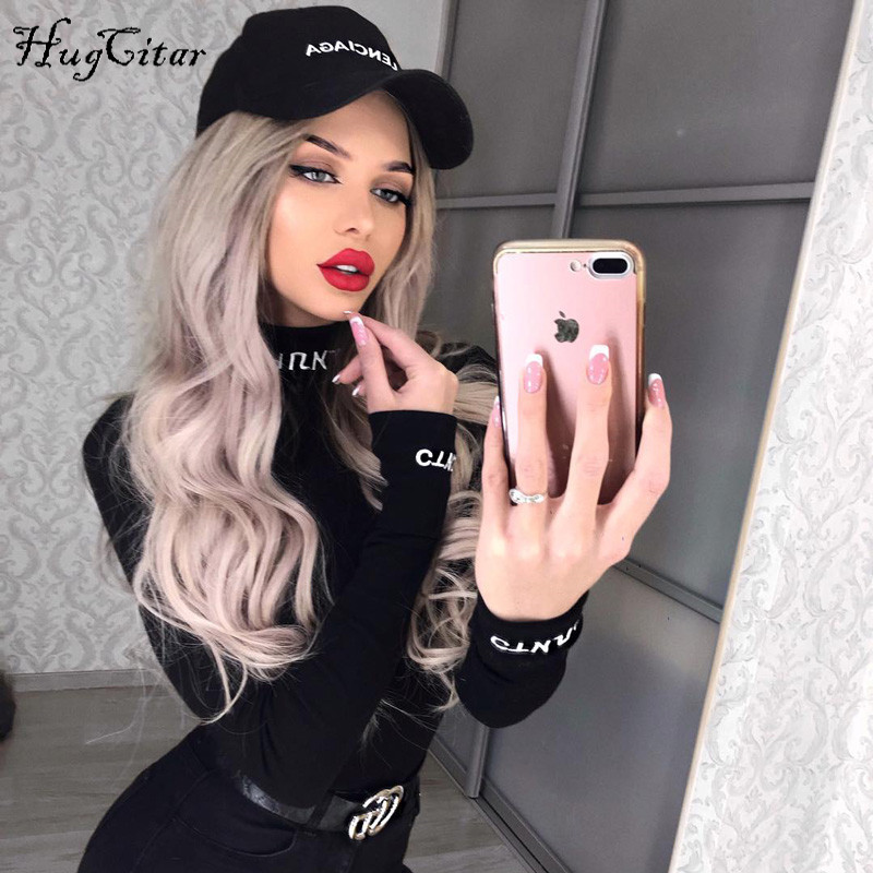 Hugcitar high neck letters embroidery long sleeve 2019 spring women new fashion bodycon bodysuit sexy party club body