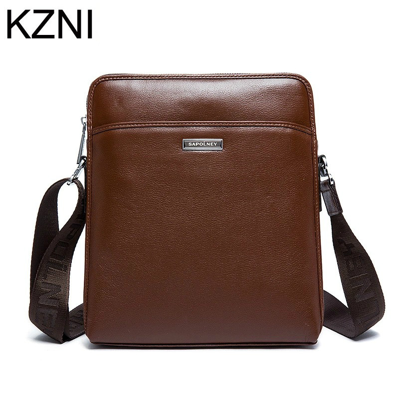 ФОТО KZNI genuine leather crossbody bags for Men cheap leather handbag bags Men bolsas femininas bolsas de marcas famosas L031510