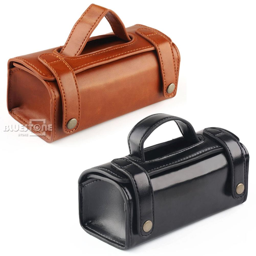 Mens PU Leather Travel Toiletry Bag Shaving Wash Case Organizer Bag Brown/Black
