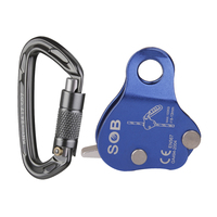 24KN Aluminum D ring Locking Carabiner with 8mm 13mm Rope Grab Protecta Rock Climbing Fall Protection Safety Rescue Gear