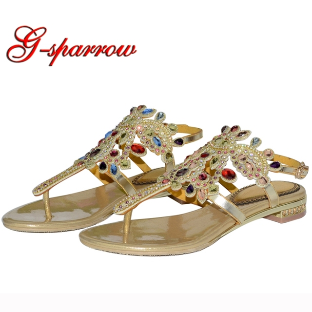19353a4fa77417 2018 Newest European and American Diamond Flip Flop Flat Shoes Roman Sandals  Bohemian Sandal Fashion Girl Beach Shoes Colorful