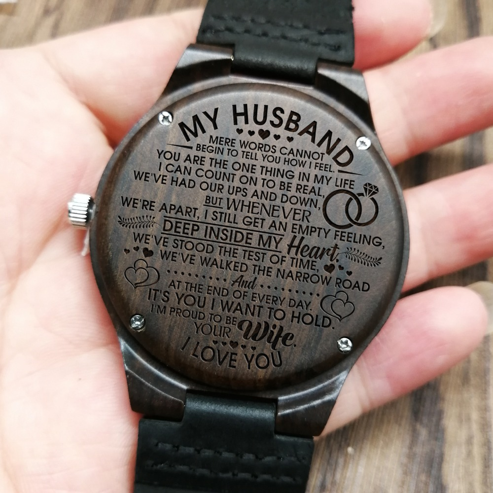 ENGRAVED WOODEN WATCHES TO MY HUSBAND, I AM PROUD TO BE YOUR WIFE
