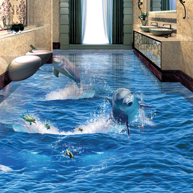 PVC 自己接着防水クリエイティブジャンプイルカフォト壁紙 3D 床壁画リビングルーム浴室摩耗ノンスリップステッカー