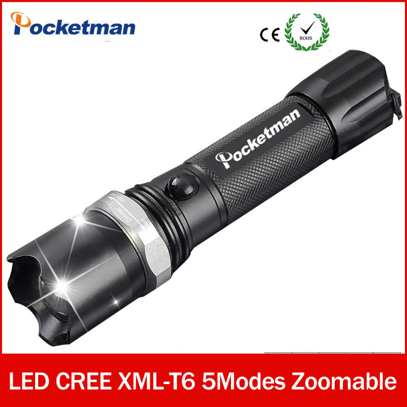 CREE XM-L T6 Led Flashlight 3800Lumens Led Torch Zoomable Waterproof Tactical Flashlight lanterna for 1x18650 Camping Hiking 3000 lumens zoomable cree xm l t6 led tactical flashlight torch zoom lamp light waterproof led 5 modes for 1x18650 3xaaa