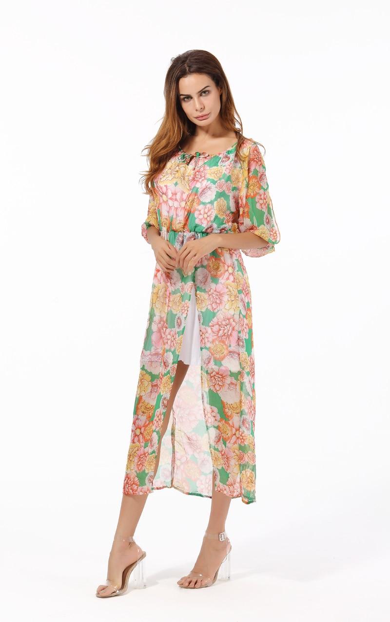 Африканские Цветочные Летние платья Длинные шифон пляж Праздничная одежда, платье