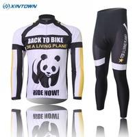 XINTOWN Hiver Nouveau Hommes Panda Long Cyclisme Manches Jersey Bib Pantalon Costume Thermique Polaire Vélo Vêtements