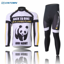 XINTOWN Winter New Mens Panda Long Sleeve Cycling Jerseys Bib Pant Suit Thermal Fleece Bike Clothing