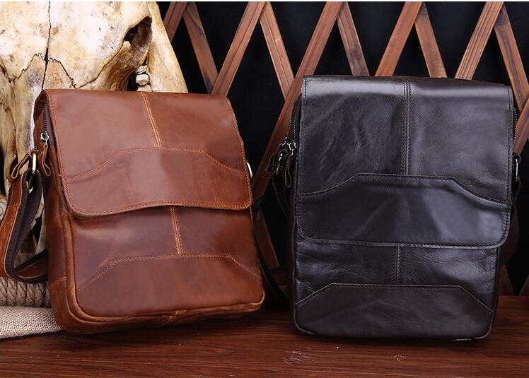 2018 new arrival cow leather men's messenger bag vintage genuine leather casual shoulder bag classic high quality briefcase 247 classic leather
