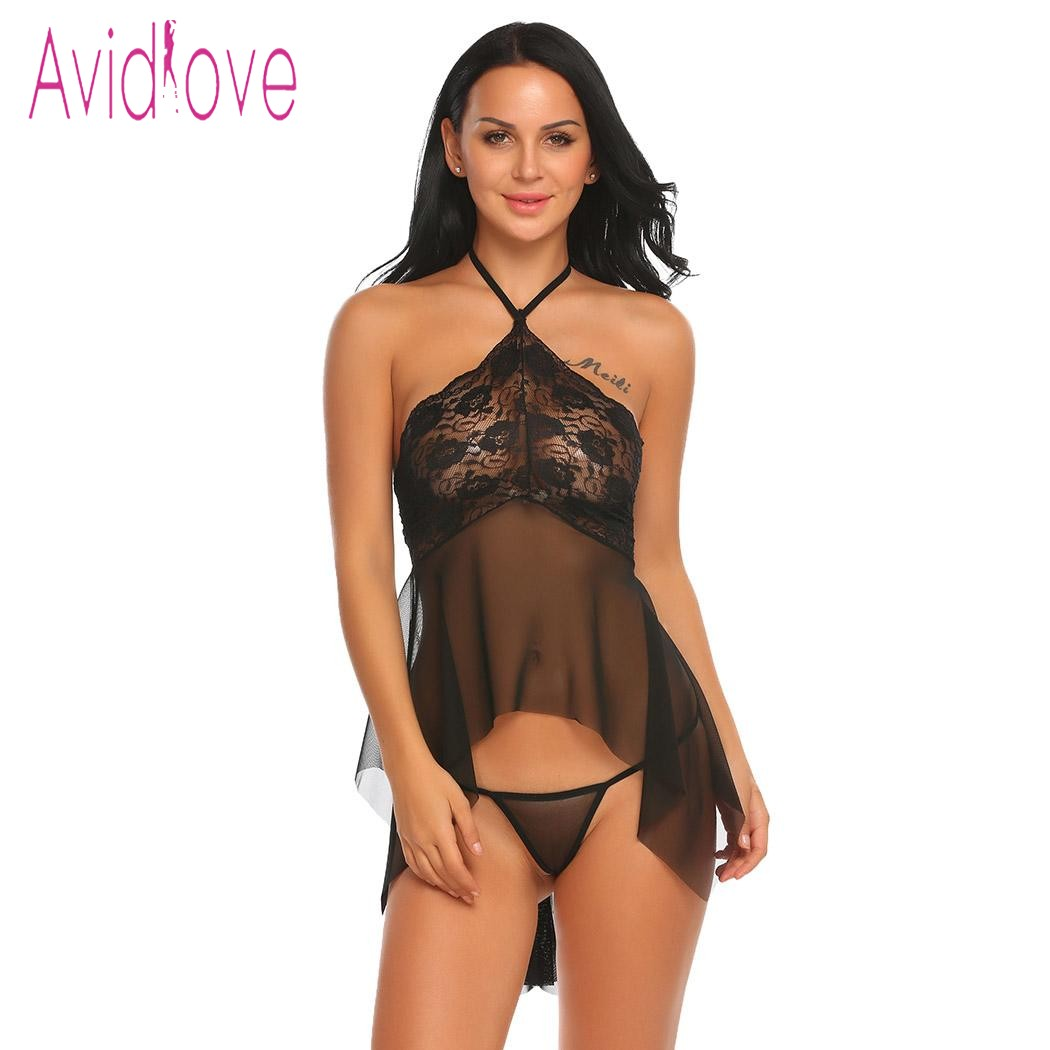 Avidlove Lingerie Sexy Erotic Hot Babydoll Dress Women Transparent Lace Nightdress Porn Chemise Underwear Fantasy Sex Clothes