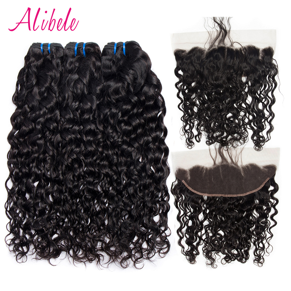Malaysian Human Hair Bundles With Frontal Remy Hair Extension Alibele Malaysian Water Wave Lace Frontal Closure