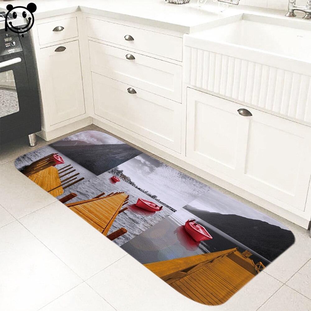 PEIYUAN tapis de porte intérieur flanelle tapis de sol doux imprimé rouge bateau pied Pad toilette Tapete tapis 61x183 cm