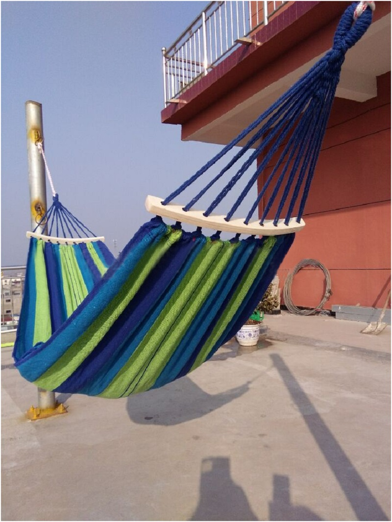 Portable Outdoor Anti-rollover Hammock Garden Sports Home Travel Camping Swing Canvas Stripe Hang thin Hammock Red Blue 190x80cm 2017 portable nylon garden outdoor camping travel furniture mesh hammock swing sleeping bed nylon hang mesh net