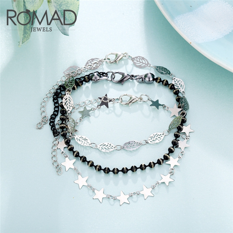 ROMAD Multi Layer Anklets for Women Ankle Bracelet Foot Accessories Summer Beach Barefoot Sandals Leg R50