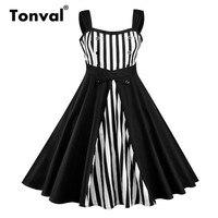 Tonval Rockabilly A Line Striped Vintage Dress Retro Button Women High Waist Dress Big Plus Size 4XL 5XL Dress