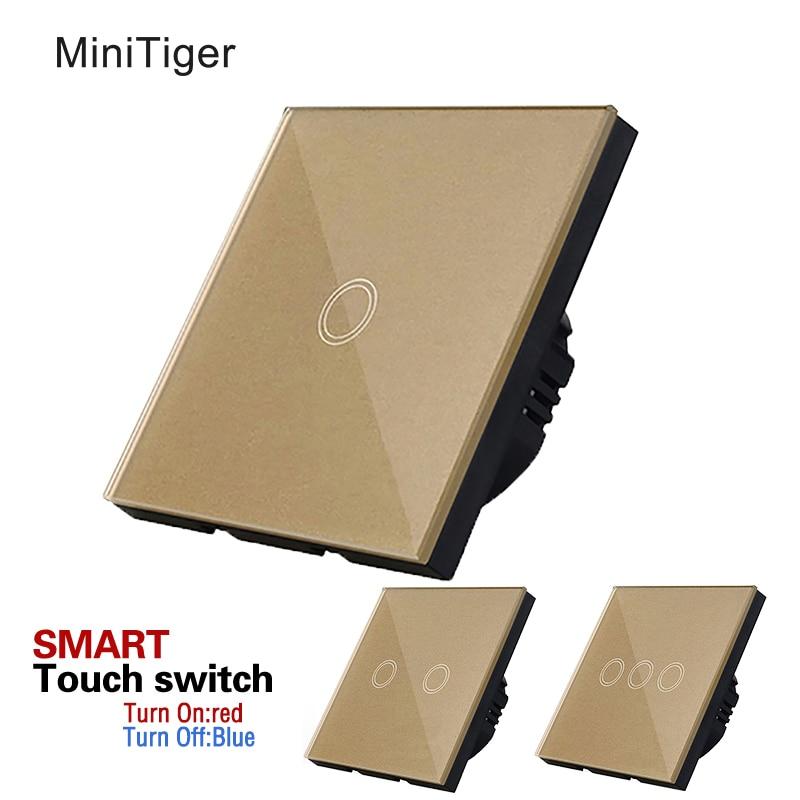 EU standard Smart touch-schalter, Goldene Kristallglas-verkleidung, Noten-wand-heller Schalter, Touch-schalter mit led-anzeige