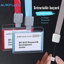 Retractable Lanyard Horizontal Acrylic Eco friendly Materials PP Plastic School Office ID Card Badge Holder 86x54mm