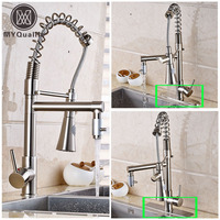 Deck Mounted Dual Spout Hands Free Sprayer Kitchen Faucvet Single Lever Pull Down Brushed Nickel Bathroom Kitchen Water TAP