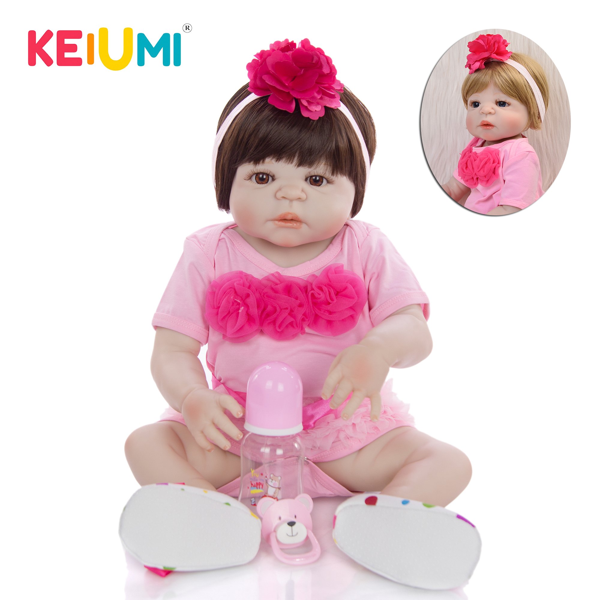 KEIUMI Hot 23 Reborn Baby Girl Full Silicone Vinyl Waterproof Body Fashion Gold or Brown hair