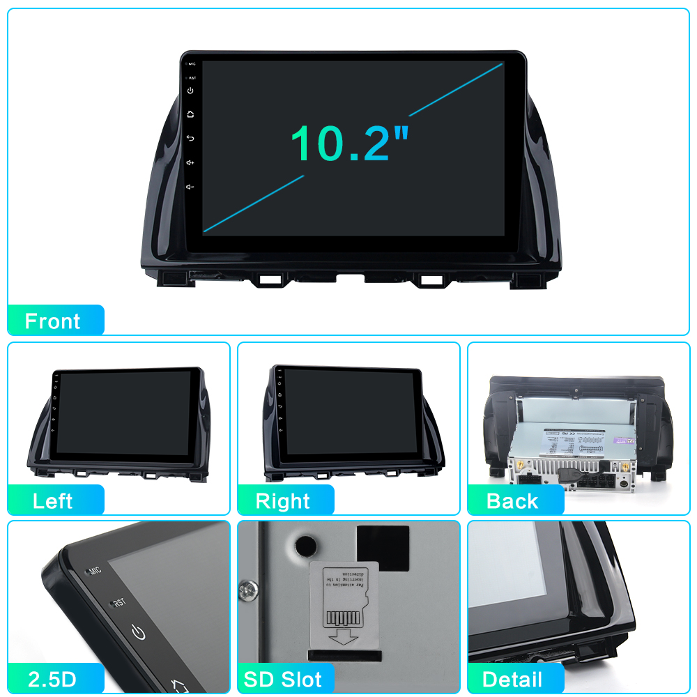 "Clearance Dasaita 1 Din Android 9.0 Car Navigation GPS for Mazda CX5 CX-5 2013 2014 2015 DSP 64GB ROM 10.2"" IPS Touch Screen 8"