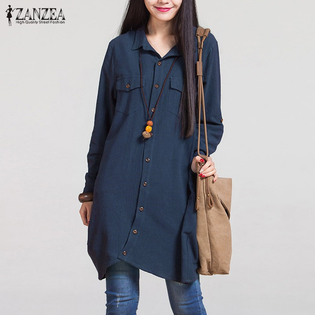 2018 Autumn ZANZEA Women Vintage Lapel Cotton Long Shirts Casual Loose Full Sleeve Blouses Tops Plus Size Blusas Oversized