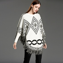 New Arrive Spring And Autumn Fashion Lady Turtleneck Sweater Tassel Hem Knitted Cloak