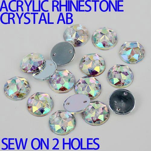 AAA crystal AB Color Superior Taiwan Acrylic Flat Back Stones Round Circle Shape Acrylic Rhinestone Sew On 2 Holes many sizes