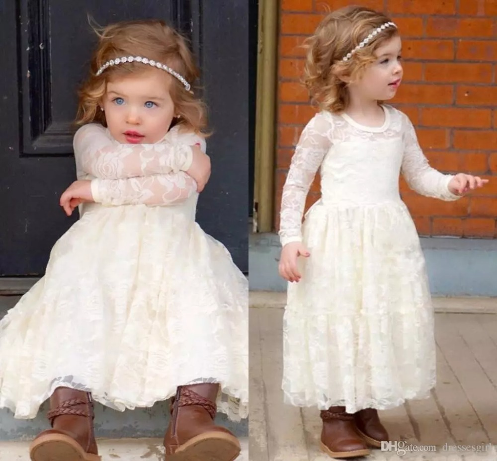 Country Beach Weddings Long Sleeves Cheap Boho   Girl   Pageant Gowns Kids Princess Communion gown Full Lace   Flower     Girl     Dresses