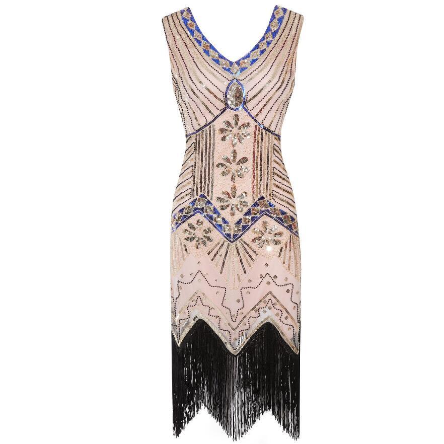 1920s Vintage Flapper Great Gatsby Party Dress V-Neck Sleeveless Sequin Beaded style Style Tassel Flapper Vestidos Feminina 1920 16
