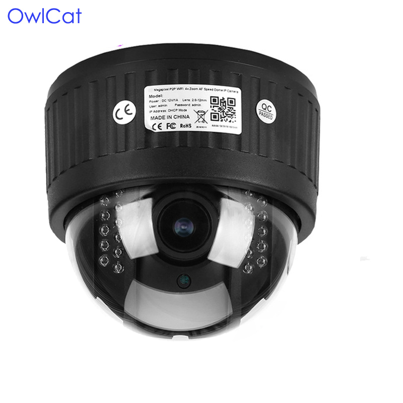 OwlCat 5X Zoom HD 1080P Indoor Wireless Revolving Dome PTZ IP Camera Audio Microphone Wifi SD Card IR Night Onvif P2P 4pcs lot 960p indoor night version ir dome camera 4 in1 camera 3 6mm lens p2p onvif abs plastic housing