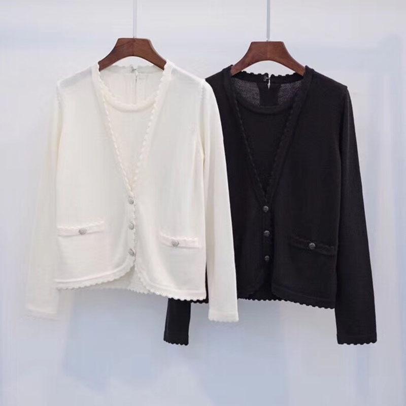 Col V 2018 À Noir Pull Longues Manches Cardigan Noir Chandail blanc Automne Casual Blanc Femmes pvx7zEYwqz