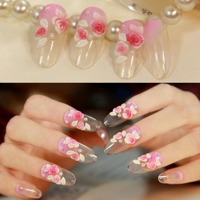 24pcs/kit Elegant Acrylic Artificial Nails Pearls Pink Rose Nail Art ...