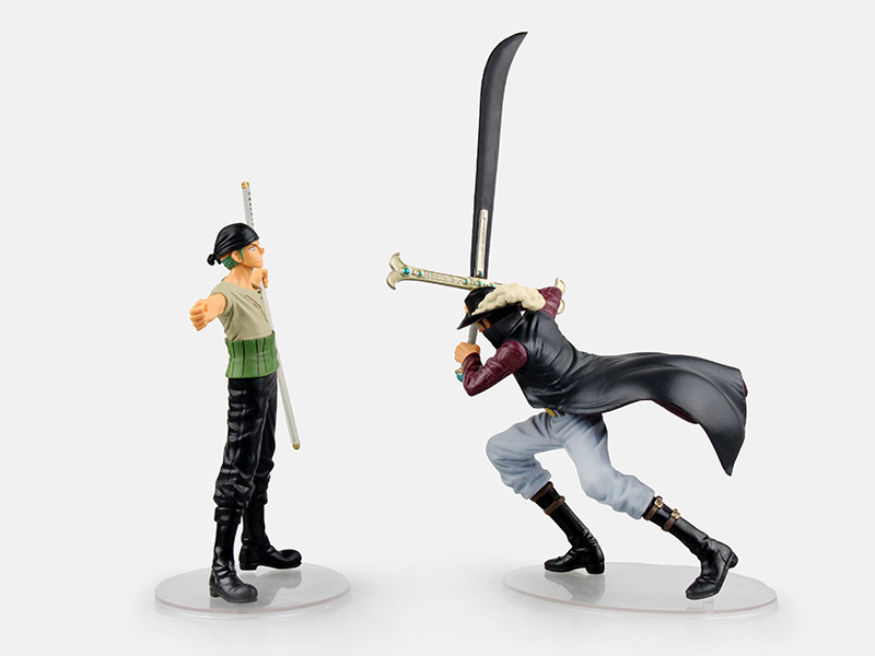 Huong Anime One Piece 2pcs/set Roronoa Zoro Dracule Mihawk Onepiece New World PVC Action Figure Toys Brinquedos Collection Model